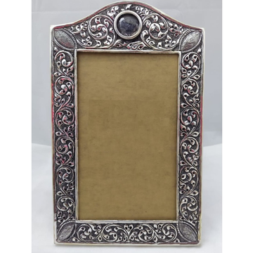 Pure silver photo frame in deep carvings in antiqu... by Puran Ornaments