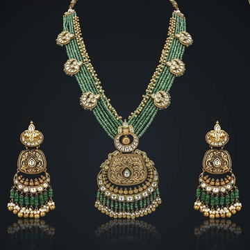 22K Gold Antique Green Pearl Necklace Set From Rajkot