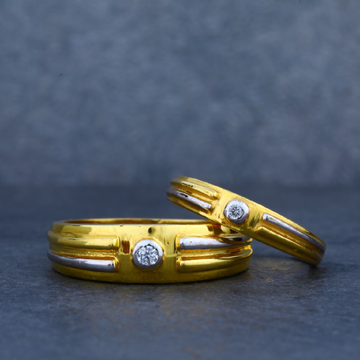 916 Gold Solitaire Couple Ring-CR10