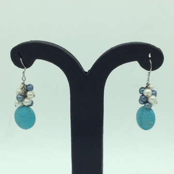 Pearl Turquoise Silver Ear Hangings JER0149