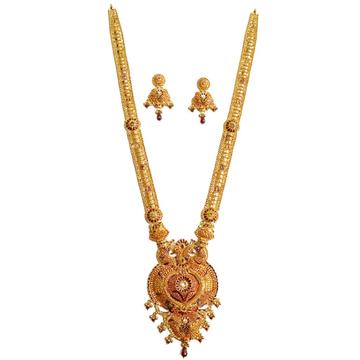 22k gold modern meenakari kalkatti necklace set mga - gls018