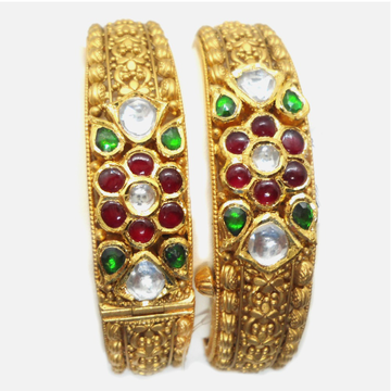 916 Gold Antique Colorstone Bangle RHJ-6021