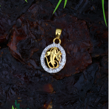 916 Gold CZ Ganesha Pendant JJ-P047