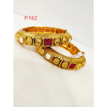 Antique gold polish with white & red stone &  screw openable kada 1210