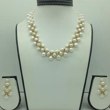 Freshwater WhiteButton Pearls ZigZag Necklace Set JPP1084
