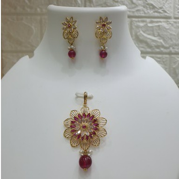 18k gold Flower Design set with ruby  by