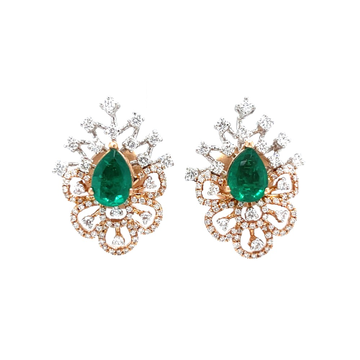 Tear drop shaped diamond tops with green stone 0to...