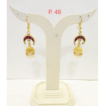 Unique Style gold plated Ruby stone Earring Jhumka 1682