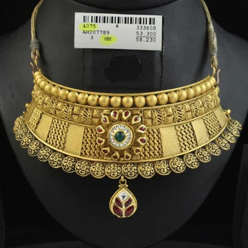 22Kt Gold Antique Choker Set by
