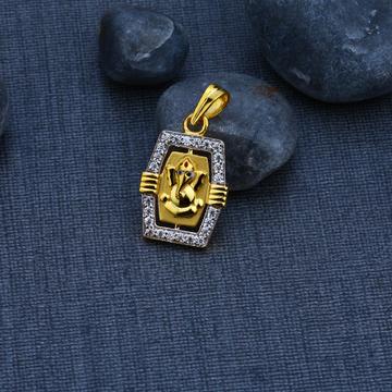 Ganpati Gold Cz 916 God Pendant-GP70