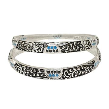 925 Sterling Silver Designer Oxidised Kadli Bangles MGA - KDS2501