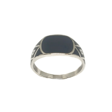 925 Sterling Silver Black Meenakari Ring MGA - GRS2149