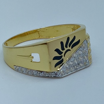 22k cz fancy gold gents ring by Shree Sumangal Jewellers