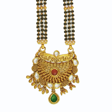 22k Yellow Gold Tanmaniya For Bridal With Black Pearls