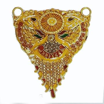 916 22kt Yellow Gold Mangalsutra Pendant Minakari