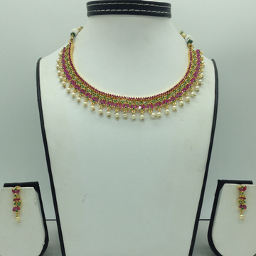 Red, Green CZ Stones Necklace Set JNC0172