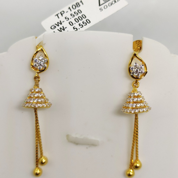 22kt gold plain earring sog-e003 by S. O. Gold Private Limited