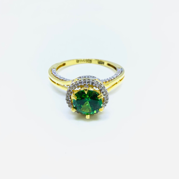 FANCY GREEN STONE GOLD RING by