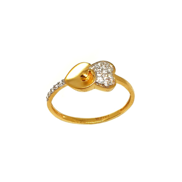 22K Gold Heart Shape Matte Finish Ring MGA - LRG10...