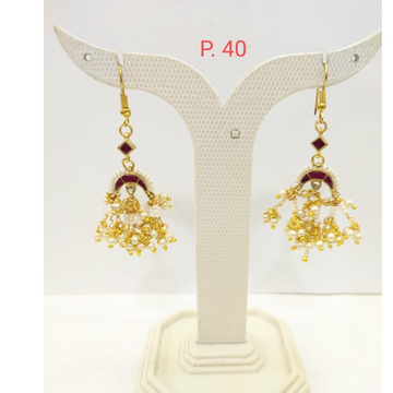 Gold plated Ruby stone Earring with hanging moti 1678
