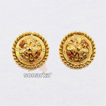 22KT Plain Gold Flower Shaped Earrings