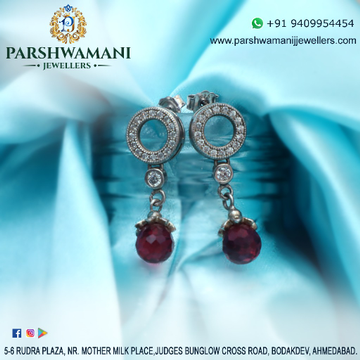 92.5 Sterling Silver Round Shape Ruby Hanging Cz Earrings for Women