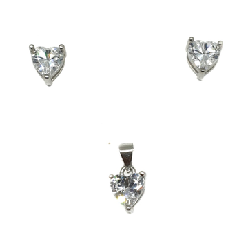 925 sterling silver heart shaped solitaire diamond pendant set mga - pts0065