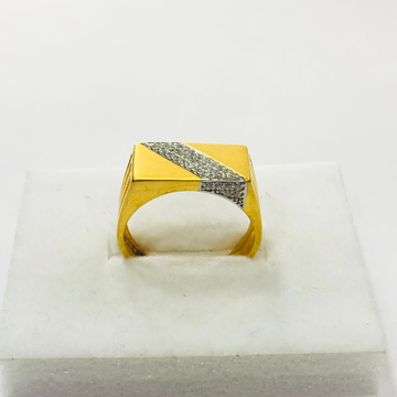 22kt, 916 Hm, Yellow Gold matte finish with AD Ring For Men Jkr221