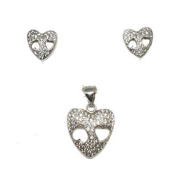 925 Sterling Silver Heart Shaped Pendant Set MGA -...