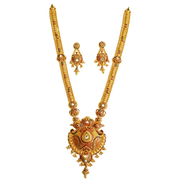 22k gold kalkatti rajwadi necklace set mga - gls038