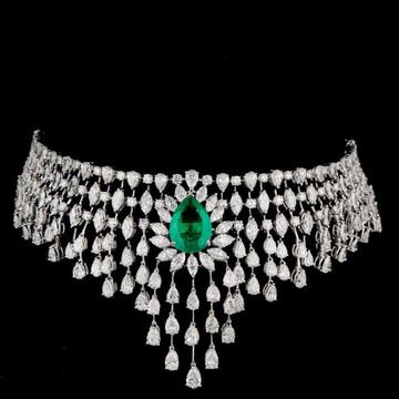 Diamonds and Emeralds ChokerJSJ0090