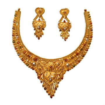 22K Gold Kalkatti Fancy Necklace Set MGA - GN0096