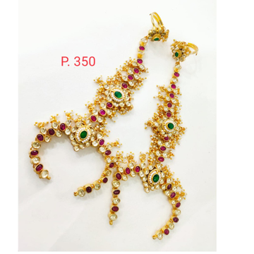 Wedding Gold plated Kundan & Moti Hath Panja with Pink & Green stone 1406
