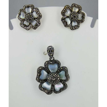 Exclusive marcasite 92.5 silver Pendant Set MG-P005