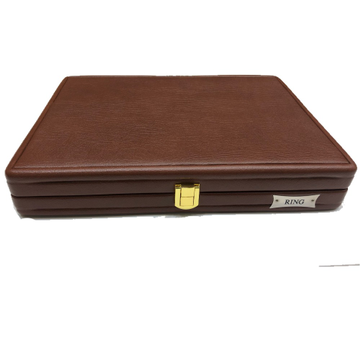 Jewellery brown leather stock box