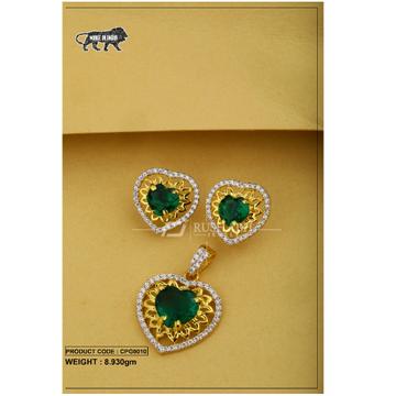 22 carat 916 gold ladies colour stone pendent set heart cpg0010