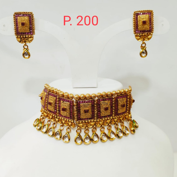 Gold plated square shape Red stone choker set with hanging kundan stone 1316