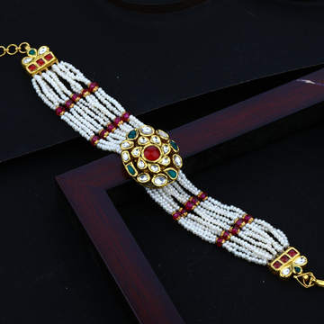 916 Gold Kundan Mani Moti Bracelet