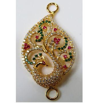 22kt gold cz casting chain side peacock pendant(moguppu)