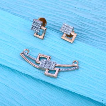 18KT Rose Gold Cz Fancy Pendant Set  RMPN29