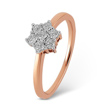 22kt gold and diamond single flower ring for women jkr007