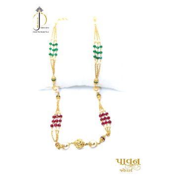 22KT / 916 Gold 3 line green & pink colour stone with moti for Ladies CHG0315