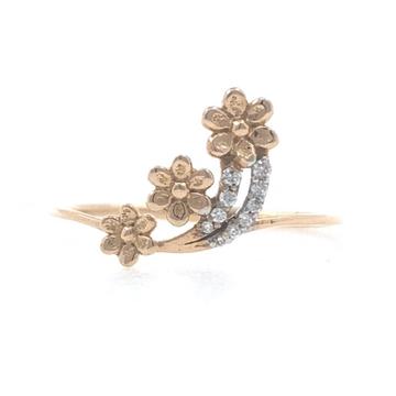 18kt / 750 rose gold Three Flower Diamond Ladies Ring 9LR201