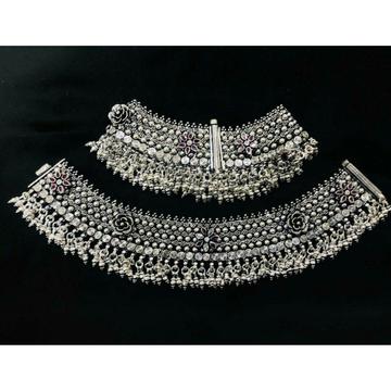 92.5 Sterling Silver Oxodize Flower Casting Khila Janjari Payal(Anklet) Ms-3861