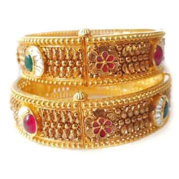 22k gold antique kada bangles mga - gp072