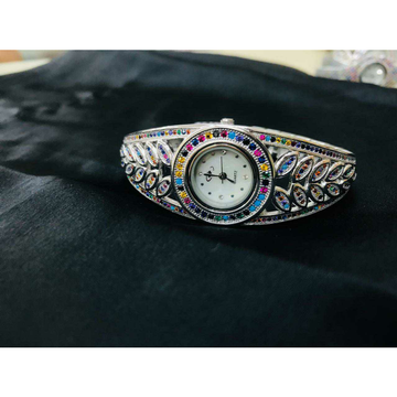 92.5 Sterling Silver Round Dail Colourfull Watch Ms-3878