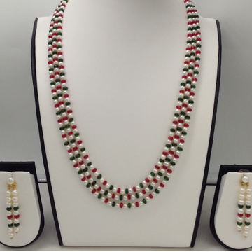 Freshwater White RoundPearls 3Layers Necklace Set With Faceted Red and Green Semi Beeds