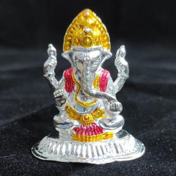 silver ganesh murti by