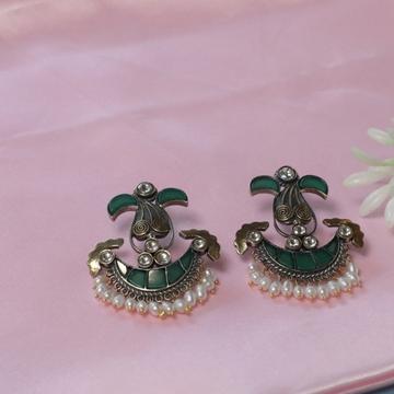 92.5 Sterling Silver Green Choki Stone White Pearl  Oxidised Antique Earrings For Women