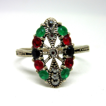 Silver 925 colorful multicolor diamond ring sr925-290